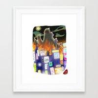 godzilla Framed Art Prints featuring Godzilla by David Pavon