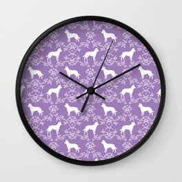 Australian Kelpie dog pattern silhouette purple florals minimal dog breed art gifts Wall Clock