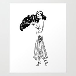 Feathers are Fun Fashion from the 20's  Art Print