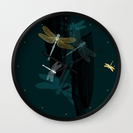 Midnight Dragonflies Wall Clock