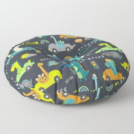 Dinosaur Race Cars Green Pattern Floor Pillow