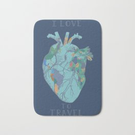 love to travel-world map 2 Bath Mat