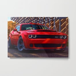 Hugger Orange Challenger SRT Hellcat MOPAR Muscle Car Metal Print