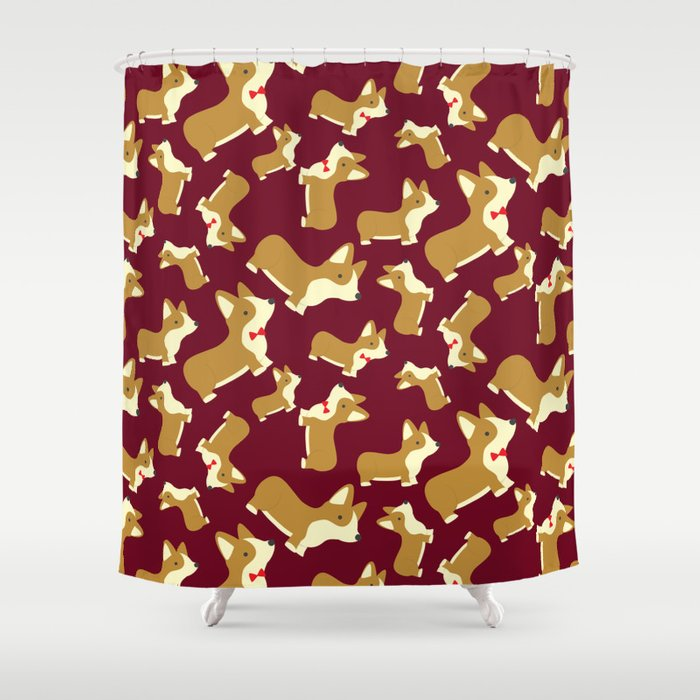 Corgi Love   Burgundy Shower Curtain