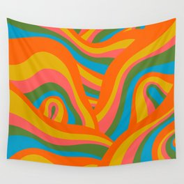 Retro 70s Psychedelic Abstract Pattern Wall Tapestry