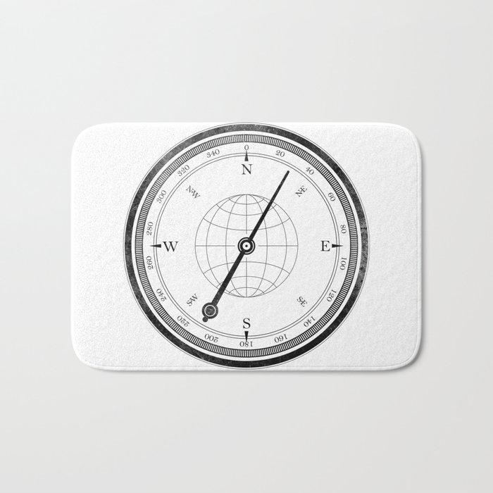 Textured Compass on White Bath Mat