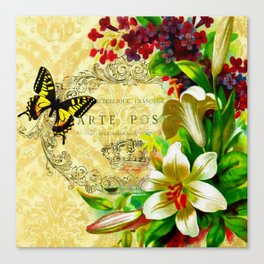 Lilies and butterfly Canvas Print