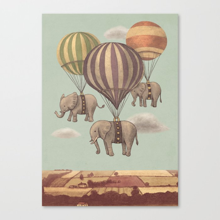 Flight of the Elephants - mint option Canvas Print