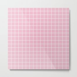 Cameo pink - pink color - White Lines Grid Pattern Metal Print