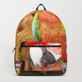 Harlequin Macaw On A Perch Backpack