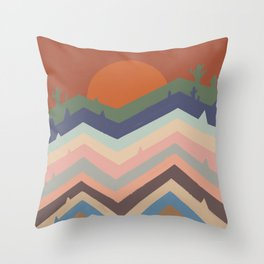 Abstraction mountain and sun landscape  Throw Pillow