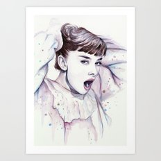 Audrey Hepburn Watercolor Actress Breakfast at Tiffanys Art Print