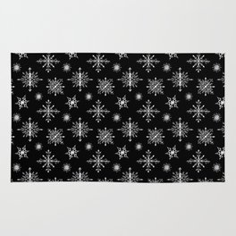 Winter in black and white - Snowflakes pattern Rug