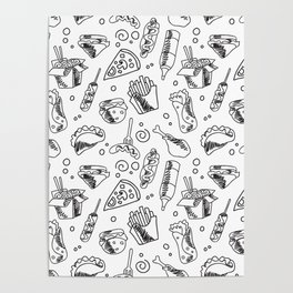Fast Food Hamburger Fries Hot Dog Chicken Pizza and Noodle Pattern Poster