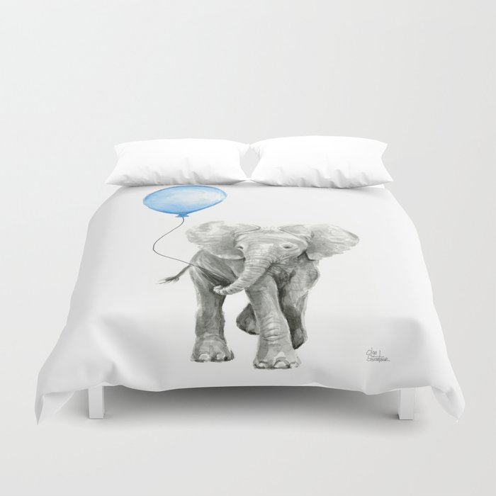 Baby Animal Elephant Watercolor Blue Balloon Boy Nursery Room Decor Duvet Cover