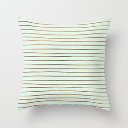 Mint & Rose Gold Striped Pattern Throw Pillow