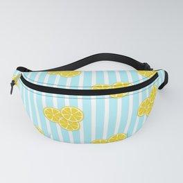 Lemon Slices on Light Blue Stripes Fanny Pack