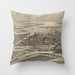 Vintage Pictorial Map of Providence RI (1896) Throw Pillow