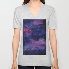 Watercolor Galaxy Nebula Pink Purple Sky Stars Unisex V-Neck