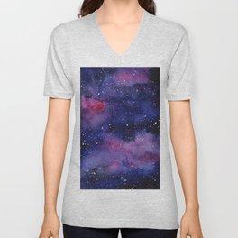 Watercolor Galaxy Nebula Pink Purple Sky Stars Unisex V-Neck