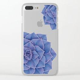 Elegant Big Purple Echeveria Design Clear iPhone Case