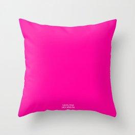 Neon Pink Hex fe019a Throw Pillow
