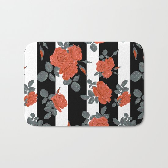 Orange roses on a striped background. Bath Mat