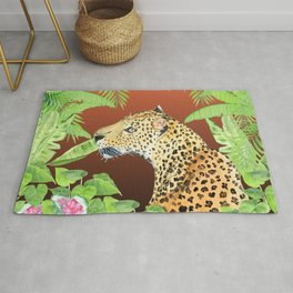 Leopard in Jungle, Coral Sunset Background Rug