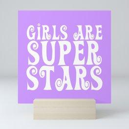 Girls are Super Stars - Purple Mini Art Print