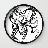 squid Wall Clocks featuring Squid by Nicole Cioffe