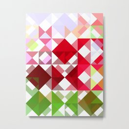Red Rose Edges Abstract Triangles 1 Metal Print