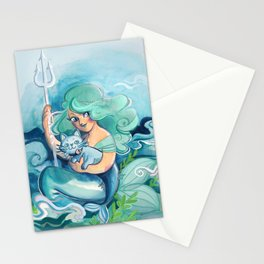 mermaid and mercat Stationery Cards