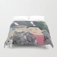 murakami Duvet Covers featuring HARUKI MURAKAMI by Lucas Eme A