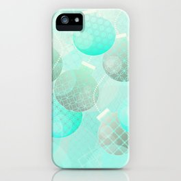 Silver and Mint Blue Christmas Ornaments iPhone Case