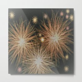 Gold Stars Wrapped in Night Metal Print