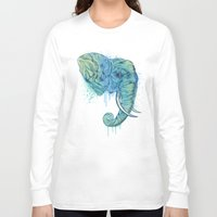 elephant Long Sleeve T-shirts featuring Elephant Portrait by Rachel Caldwell