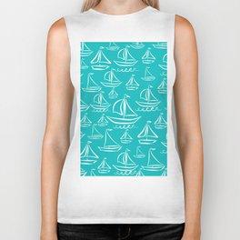 Sail Away Turquoise Biker Tank