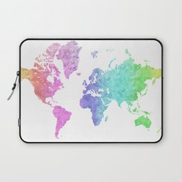 "Rainbow world map in watercolor style ""Jude"" Laptop Sleeve"