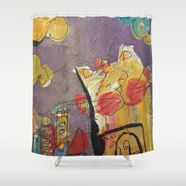 Cat in the city Shower Curtain