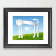 Skinny Cat With Cloud Heart Framed Art Print