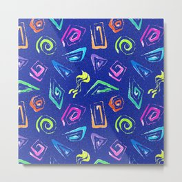 Surf Spiral Shapes in Neon Periwinkle Metal Print