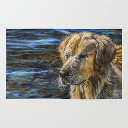 One Wet Golden Retriever by Teresa Thompson Rug