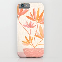 Bonsai Ramen II / Simple Botanical in Pink and Orange iPhone Case
