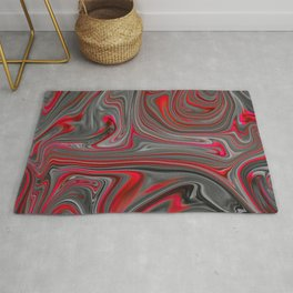 Red and Gray Liquid Marble Swirling Pattern Texture Artwork #4 Rug