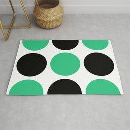Mid Century Modern Polka Dot Pattern 9 Black and Green Rug