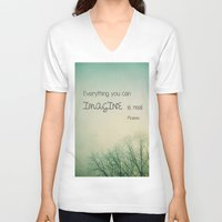imagine V-neck T-shirts featuring Imagine by Olivia Joy StClaire