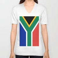 south africa V-neck T-shirts featuring Flag of South Africa by Neville Hawkins