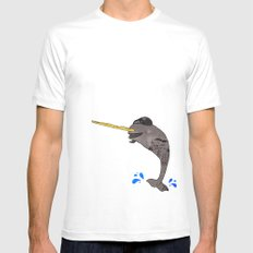 Gnar-Whal MEDIUM White Mens Fitted Tee