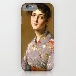 William Merritt Chase - Girl In A Japanese Costume - Digital Remastered Edition iPhone Case