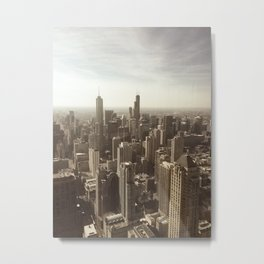 Chicago Buildings Sears Tower Sky Sun Color Photo Metal Print